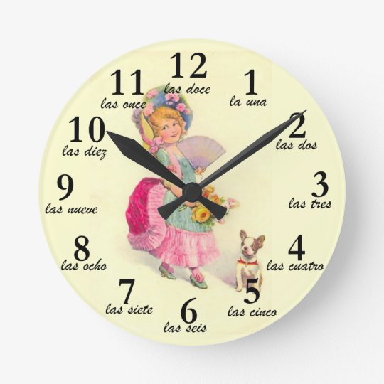 Girl and Dog Vintage Motif & Spanish Numbers Clock