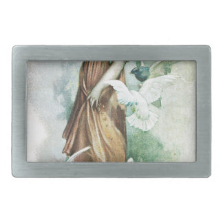 GIRL AND DOVES BELT BUCKLE