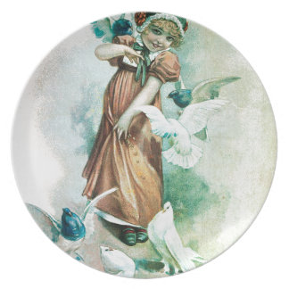 GIRL AND DOVES PLATE
