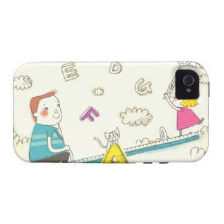 Girl and father sitting on seesaw iPhone 4/4S cases