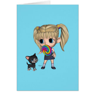 Girl and Her Cat - Greeting Card