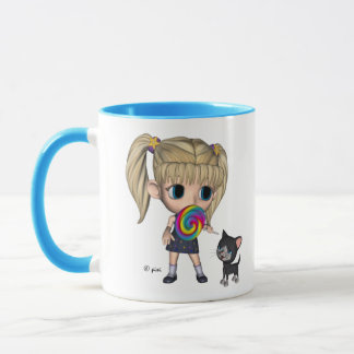 Girl and Her Cat - Mug