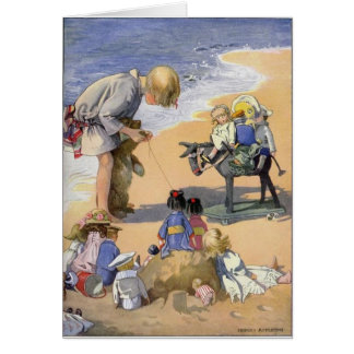 Girl and Her Dolls at the Beach, Card