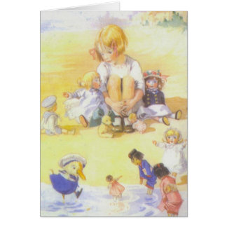 Girl and Her Dolls at Water's Edge, Card