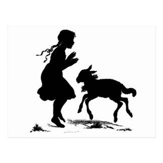 Girl and lamb postcard