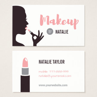 Girl and Lipstick Makeup Artist Business Cards