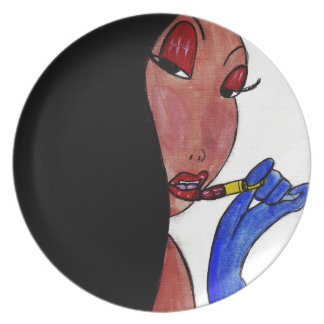 Girl and Lipstick Plate
