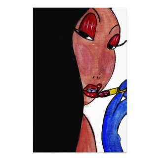 Girl and Lipstick Stationery