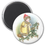 Girl and Nest Vintage Christmas 2 Inch Round Magnet