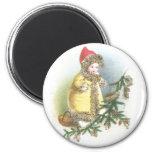 Girl and Nest Vintage Christmas Fridge Magnet