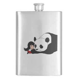 Girl and Panda Hip Flask