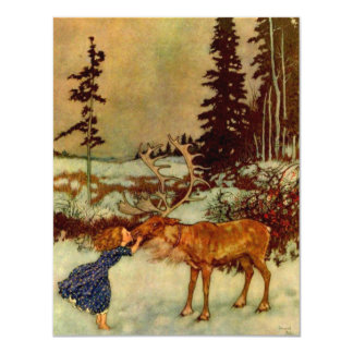 Girl and Reindeer Card