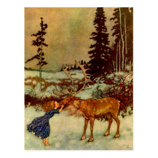 Girl and Reindeer Postcard