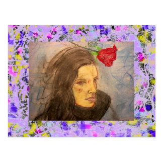 girl and rose drip postcard