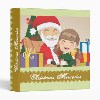 Girl and Santa Claus 3 Ring Binder