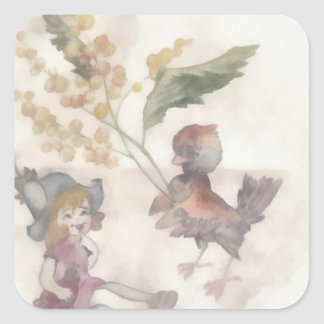 Girl andsparrow square sticker