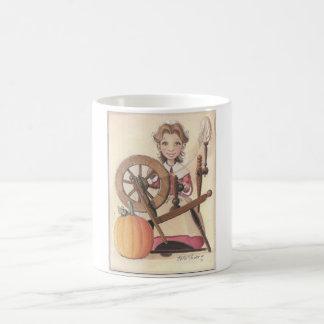 girl and spinning wheel coffee mug