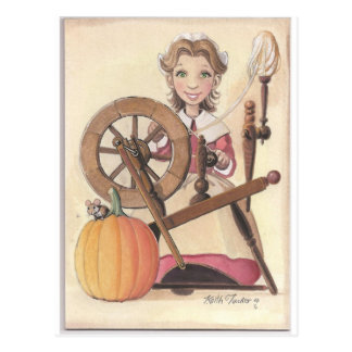 girl and spinning wheel postcard