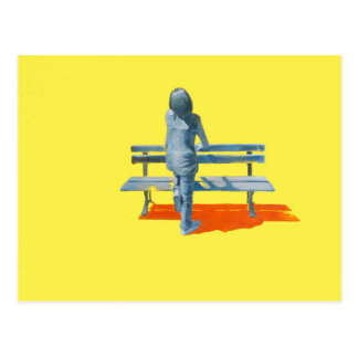 girl and the bench postcard