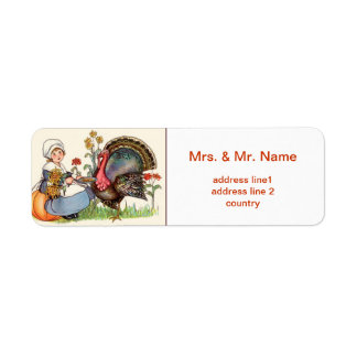 girl and turkey, vintage thanksgiving return address label