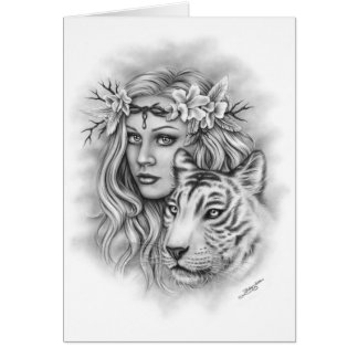 Girl and White Tiger Strength Greeting Card