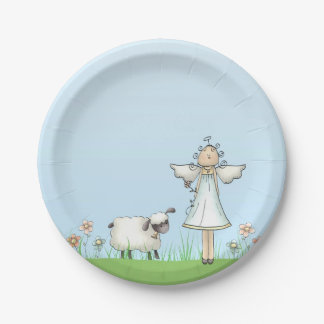 Girl Angel and Lamb, Blue, Religious Paper Plate