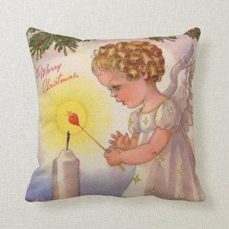 Girl Angels lighting Christmas Candle Throw Pillow