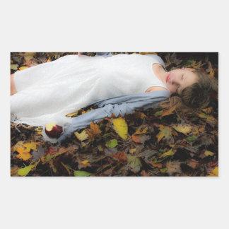 Girl Apple Leafs Fall Sleep Sticker
