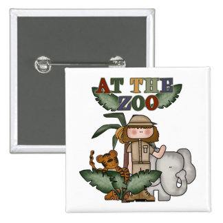Girl At the Zoo 2 Inch Square Button