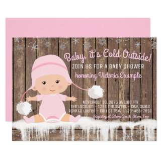 "Girl Baby its Cold Outside Baby Shower 5"" X 7"" Invitation Card"