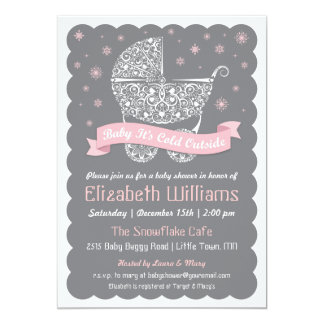 Girl Baby It's Cold Outside Shower Invitation