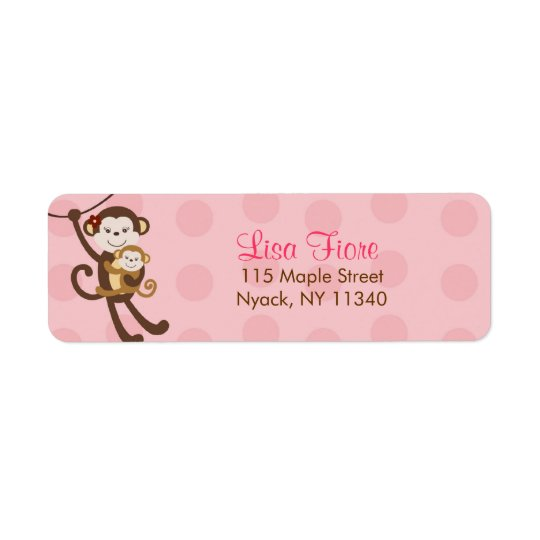 Girl Baby Monkey Jungle Baby Shower Address Labels