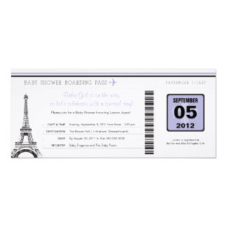 Girl Baby Shower Boarding Pass to Paris Card