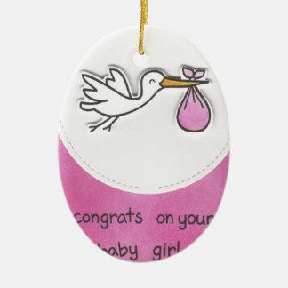 Girl baby shower ceramic oval ornament