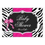 "Girl Baby Shower - Elegant Zebra Print Hot Pink 5"" X 7"" Invitation Card"
