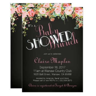Girl Baby Shower Floral Invitation & Book Card