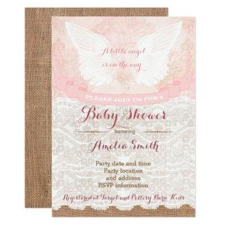 girl baby shower invites, pink angel baby shower card