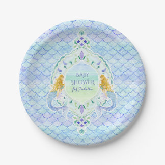 Girl Baby Shower Mermaid Fish Scale Pattern Paper Plate