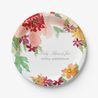 Girl Baby Shower Modern Watercolor Fall Flowers Paper Plate