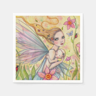 Girl Baby Shower Napkins Mother Baby Fairies Disposable Napkins