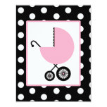 """Girl Baby Shower - Pink Carriage & Polka Dots 4.25"""" X 5.5"""" Invitation Card"""