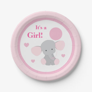 Girl Baby Shower Pink Gray Elephant Sprinkle Party 7 Inch Paper Plate