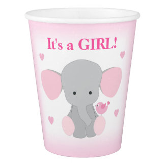 Girl Baby Shower Pink Gray Elephant Sprinkle Party Paper Cup