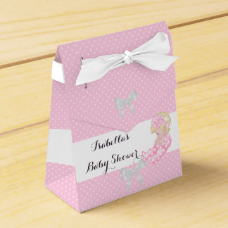 Girl Baby Shower Pink Polka Dots Cute Blonde Favor Party Favor Boxes