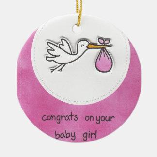 Girl baby shower round ceramic ornament