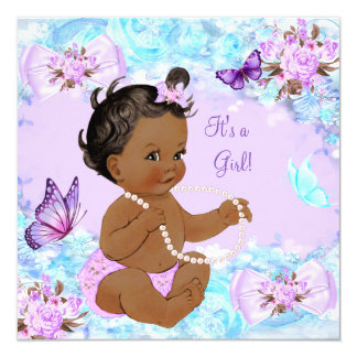 """Girl Baby Shower Teal Purple Butterfly Ethnic 5.25"""" Square Invitation Card"""