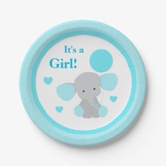 Girl Baby Shower Turquoise Elephant Sprinkle Party 7 Inch Paper Plate