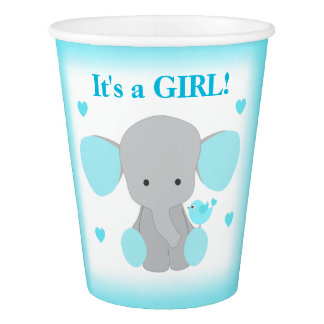 Girl Baby Shower Turquoise Gray Elephant Sprinkle Paper Cup