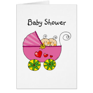 Girl baby twins greeting card