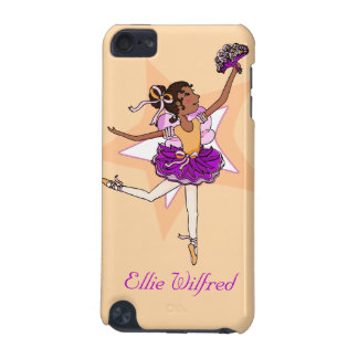 Girl ballerina peach dark hair name ipod case